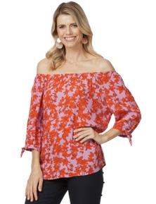 Rockmans 3/4 Sleeve Off Shoulder Floral Top