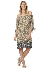 Rockmans 3/4 Sleeve Contrast Border Print Dress