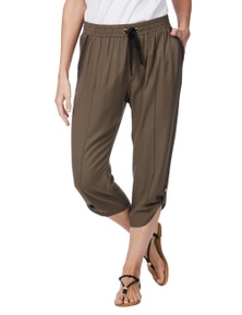 Rockmans Crop Khaki Embroidered Pocket Pant