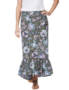 Rockmans Soft Floral Print Maxi Skirt