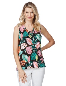 Rockmans Sleeveless Lace Up Print Top
