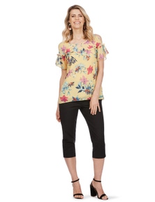 Table Eight Floral Print Cold Shoulder Top
