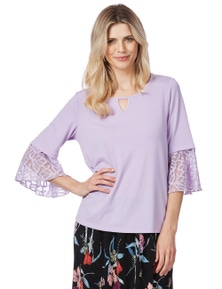 Table Eight 3/4 Sleeve Lace Insert Blouse
