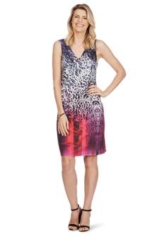 Rockmans Sleeveless Ombre Leopard Eyelet Dress