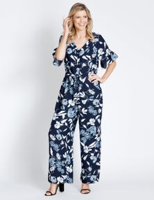 Table Eight Short Sleeve Floral Jumpsuit