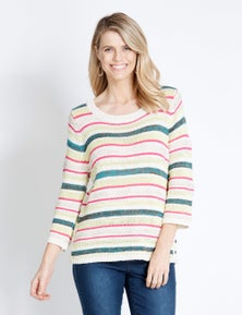 Rockmans 3/4 Sleeve Textured Multi Colour Knit
