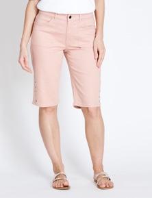 Rockmans Knee Length Dusty Pink Denim Short