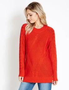 Rockmans Long Sleeve Stud Detail Colour Pop Knit