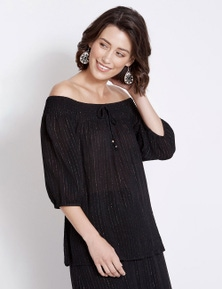 Rockmans 3/4 Sleeve Off Shoulder Lurex Stripe Top