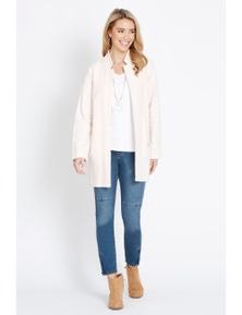 Rockmans Long Sleeve Longline Cut and Sew Coat