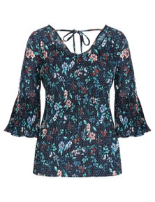 Table Eight 3/4 Sleeve Pleated Floral  Spot Blouse