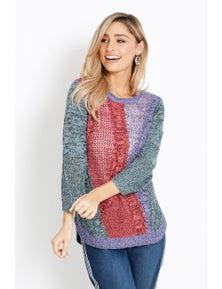 Rockmans 3/4 Sleeve Scoop Neck Multi Stitch Knit