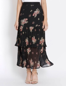 Table Eight Full Length Tiered Floral Print Skirt