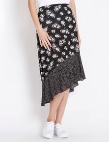 Rockmans Neutral Floral Ruffle Skirt