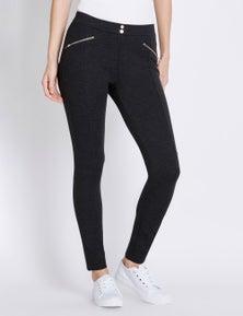 Rockmans Full Length Mock Zip Detail Pull On Pant