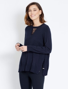 Table Eight Long Sleeve Lace Up Knit