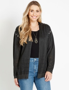 Rockmans Long Sleeve Stud Pointelle Cardigan