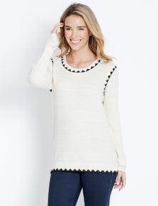 Rockmans Longsleeve Contrast Stitch Knit