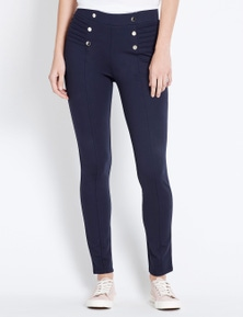 Rockmans Full Length Pintuck and Stud Detail Pant