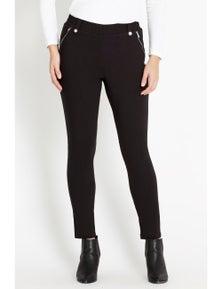 Rockmans Full Length Pocket Zip and Stud Loop Pant