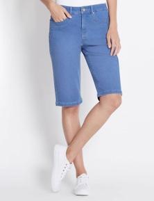 Rockmans Knee Length Blue Wash Short