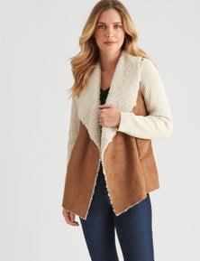 Rockmans Long Sleeve Shearling Knit Jacket