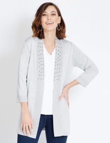 Rockmans 3/4 Sleeve Embelllished Collar Cardigan