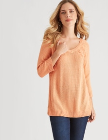 Rockmans 3/4 Sleeve Lurex V Neck Cable Jumper