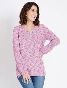Rockmans Long Sleeve Lace Up Multi Stitch Jumper