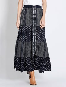 Rockmans Embroidered Detail Maxi Skirt