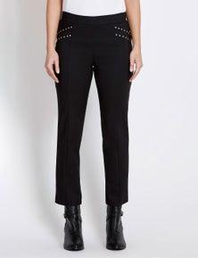 Rockmans Ankle Length Stud Panelled Pocket Pant