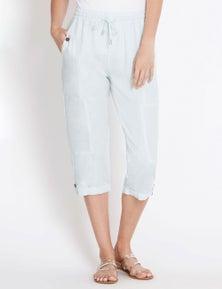 Rockmans Crop Linen Pocket Pant