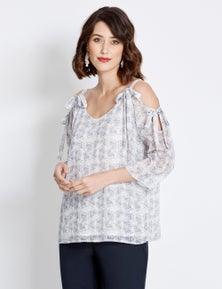 Table Eight 3/4 Sleeve Delicate Floral Blouse