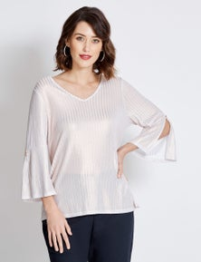 Table Eight 3/4 Sleeve Gold Foil Knit Top