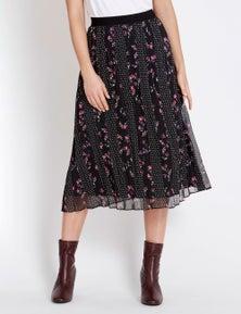 Table Eight Pleated Floral Spot Midi Skirt