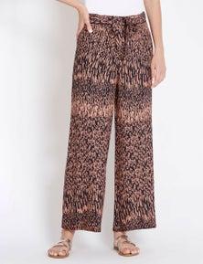 Rockmans Full Length Wide Leg Tribal Print Pant