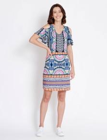 Rockmans Short Sleeve Fan Border Print Dress