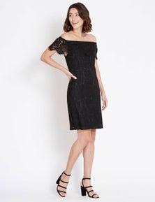 Rockmans Short Sleeve Eyelash Lace Dress
