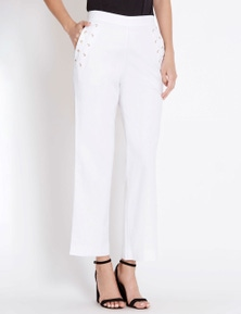 Table Eight Full Length Wide Leg Lattice Detail Pant