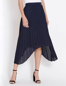 Table Eight Pleated Hanky Hem Midi Skirt