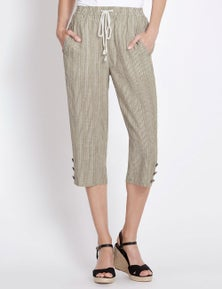 Rockmans Crop Length Button Hem Stripe Pant