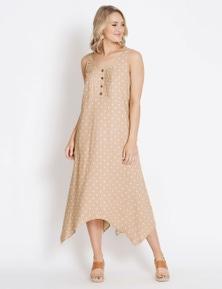 Rockmans Sleeveless Spot Linen Dress