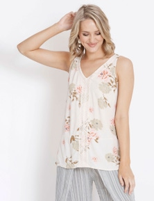 Rockmans Sleeveless Lace Trim Top
