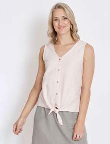 Rockmans Sleeveless Textured Tie Top