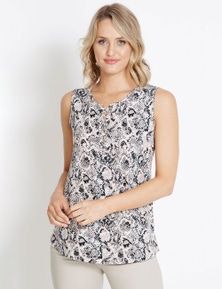 Rockmans Sleeveless Lace Up Top