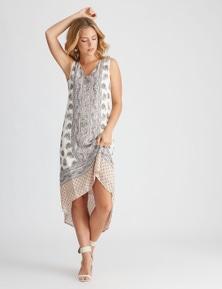 Rockmans Sleeveless Midi Paisley Placement Dress