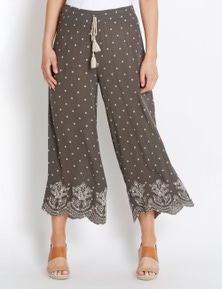 Rockmans Culotte Moroccan Embroidered Pant