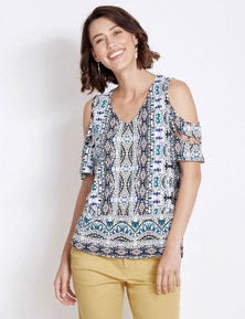 Rockmans Cold Shoulder Ring Detail Print Top