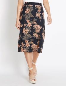 Rockmans Hibiscus Print Button Detail Skirt