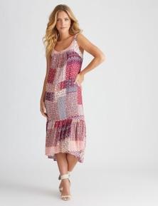 Rockmans Sleeveless Medina Print Midi Dress